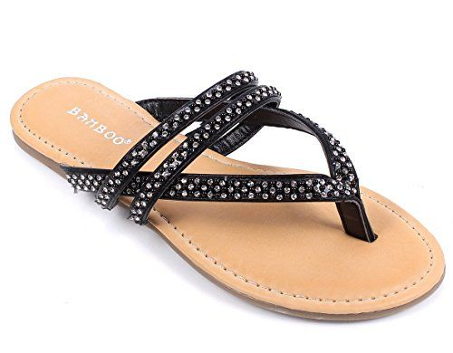 Fashion Synthetic Beach Summer Lady Thong Flip Flops Casual Sexy Rhinestone Women Sandals New Without Box 6 Black ** Be sure to check out this awesome product.