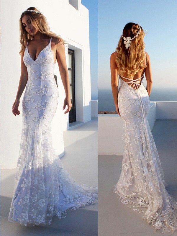 Meerjungfrau ärmellose weiße Spitze Tüll Brautkleider #civilweddingdresses