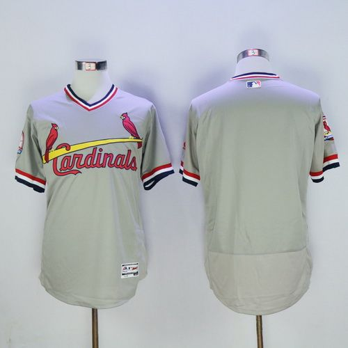 Men's St. Louis Cardinals Blank Gray Pullover 2016 Flexbase Majestic Baseball Jersey