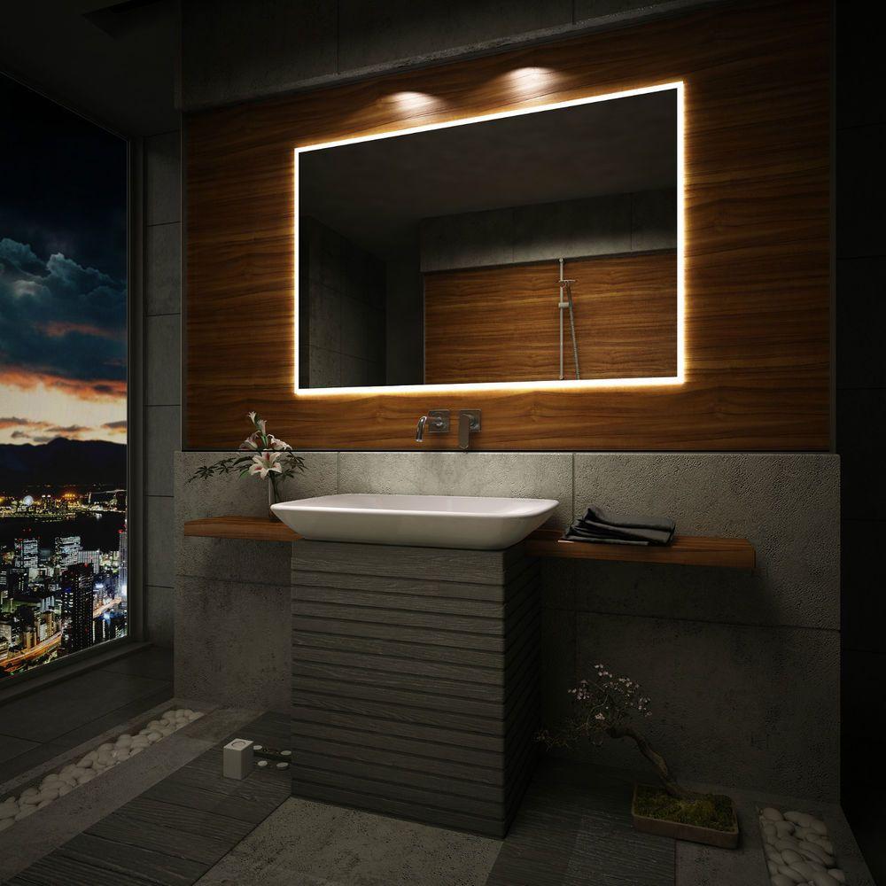Backlit Led Illuminated Bathroom Mirror Sensor Switch Demister Pad Led Clock Bathroom Mirror Modern Bathroom Mirrors Mirror