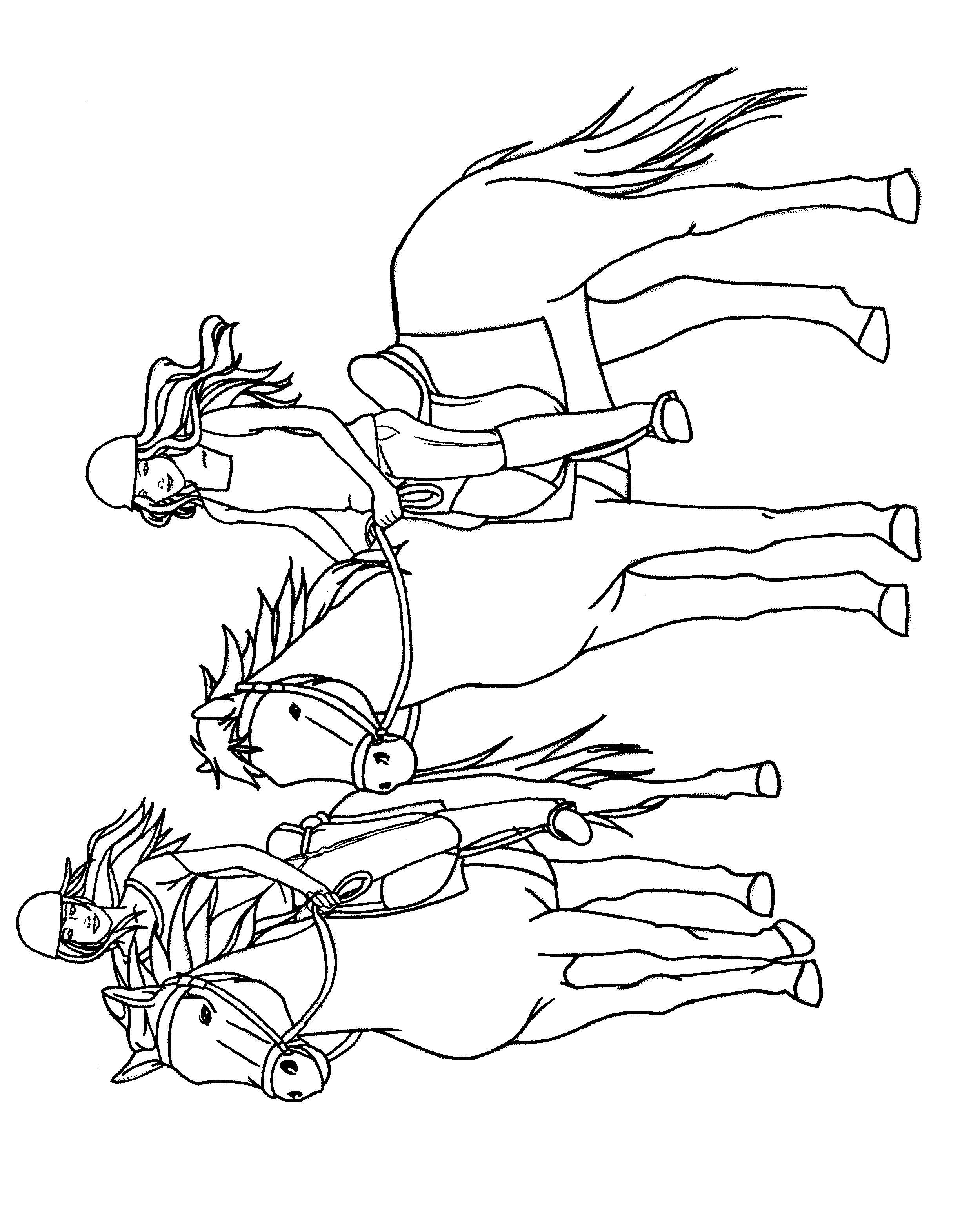 Reiterinnen mit ihren Pferden  Ausmalbilder, Ausmalen, Pferd