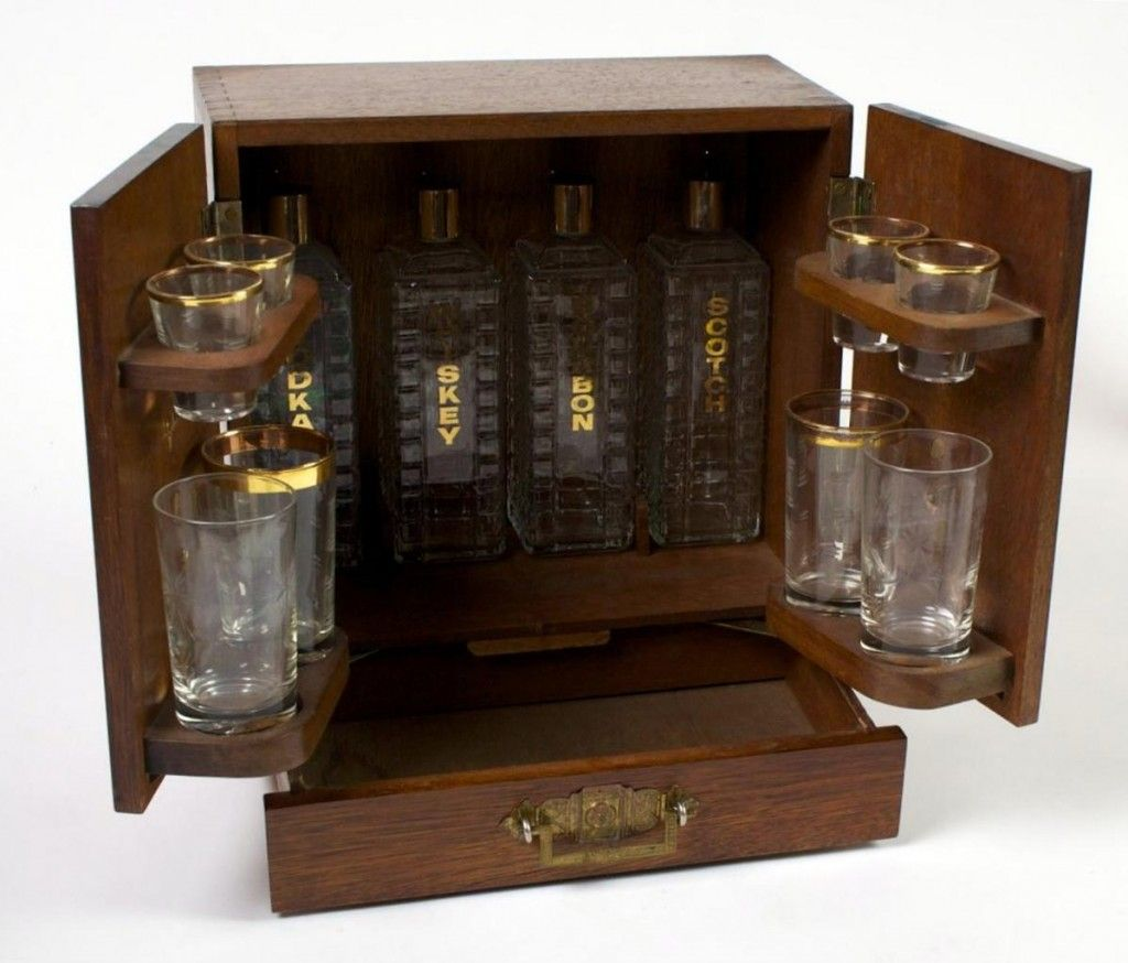 Superbe Prohibition 1930s Compact Liquor Cabinet W/4 Crystal Decanters U0026 Glasses    ID# 528   $585.00   Antiques Of Pasadena