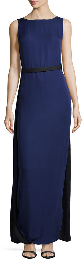 Halston Caped-Back #Colorblock #Silk #Gown, #Midnight #Black