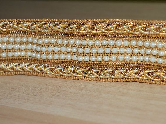 Indian Hand Beaded Bridal Dress Border 9 Yd Trim Ribbon Golden Craft Lace Ideal Gift For All Occasions Trims