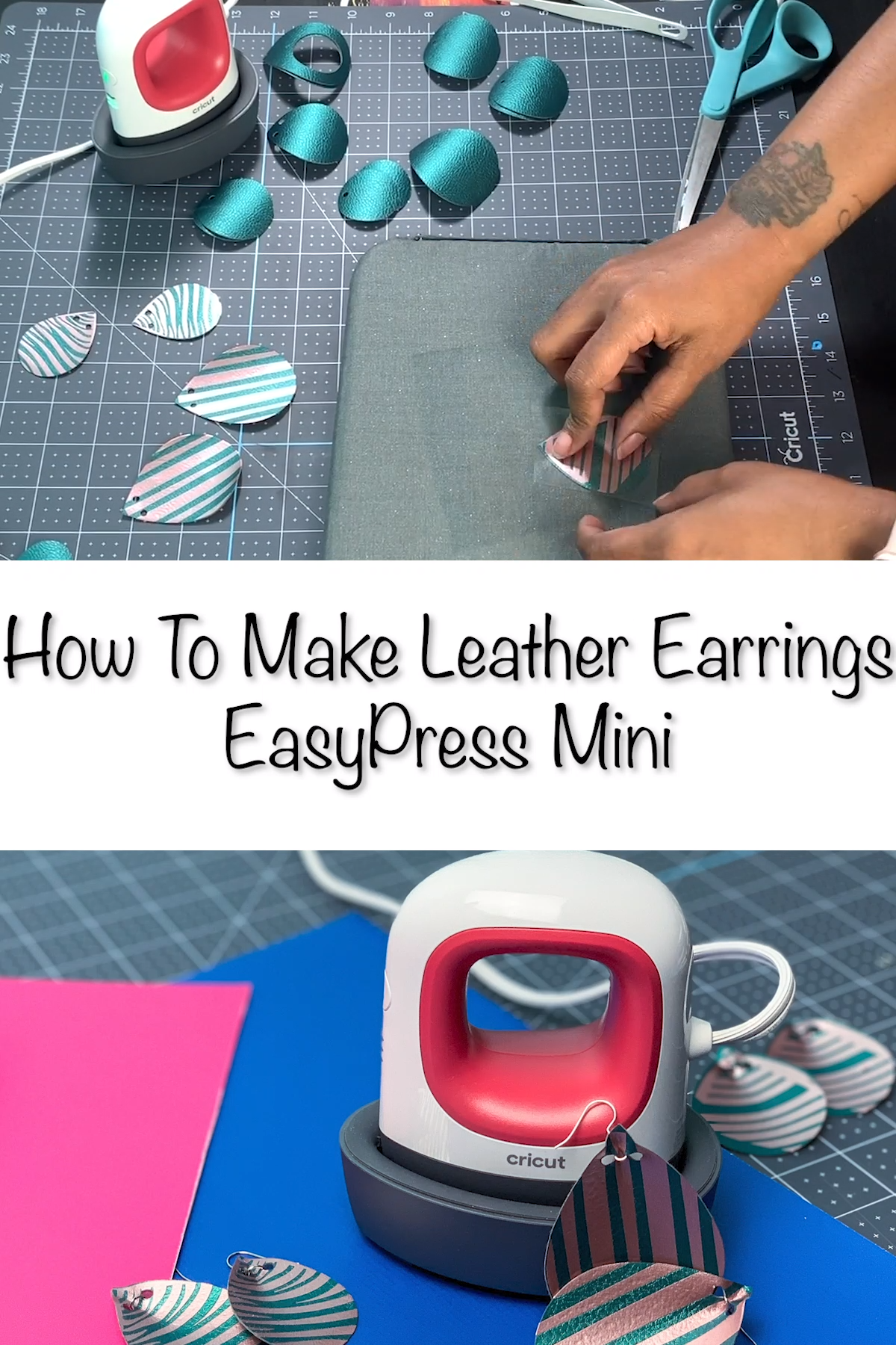 #ad Learn how to make leather earrings with a Cricut EasyPress Mini with this easy to follow guide! You'll love how simple this project is! #leatherearrings #easy #cricut #diy #howtomake #handmade #cricutcreated