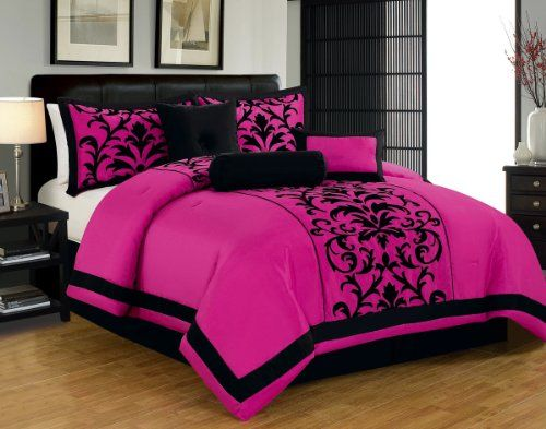 7pc luxury faux silk flocking damask print comforter set for Fuschia bedroom ideas