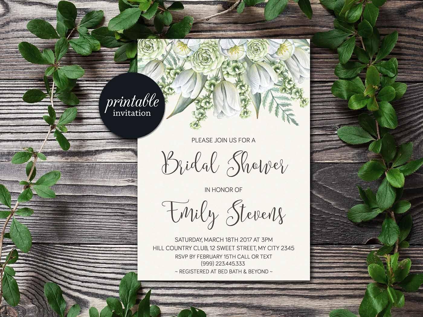 Floral Bridal Shower Invitation, Greenery Bridal Shower Invitation ...