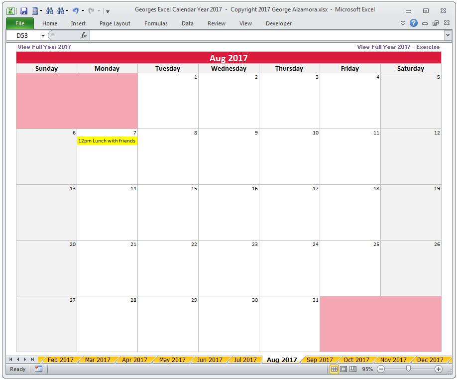 Georges Excel Calendar Year