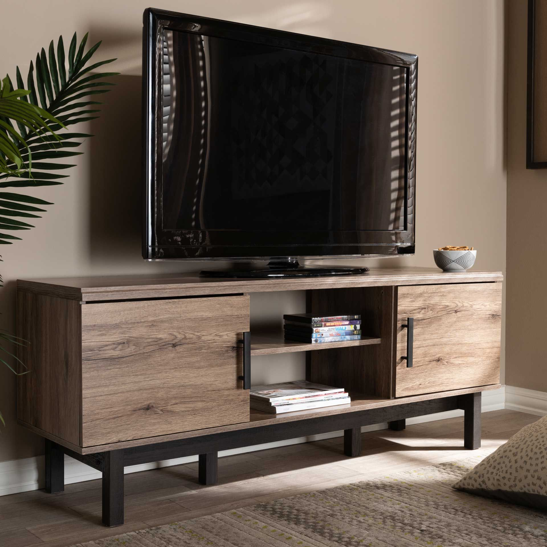 Ariel 2 Door Tv Stand Oak Black In 2021 Tv Stand Wood Tv Stand Brown Contemporary Tv Stands