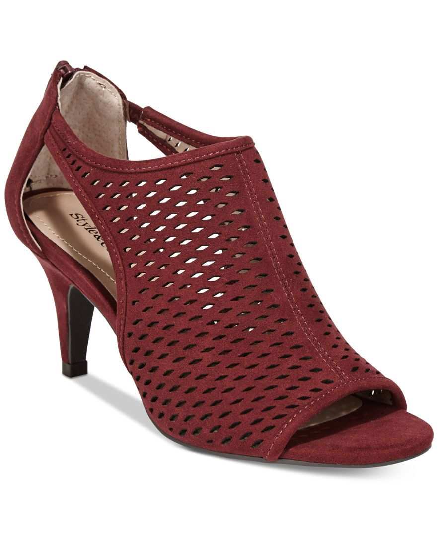 Dress up jeans or a skirt with Style & Co.'s Haddiee shootie heels, fashioned with perforated and cutout details paired in a chic, peep toe design.   Manmade upper; manmade sole   Imported   Round pee