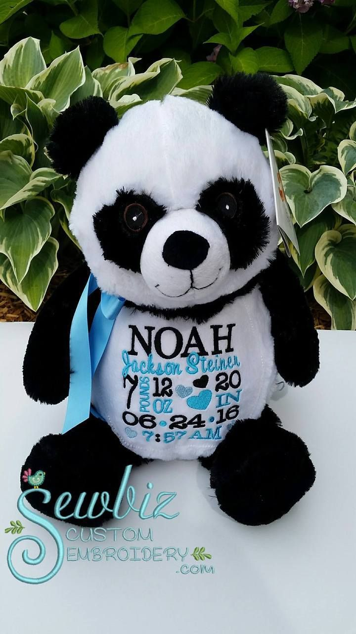 Peyton panda buddy personalized stuffed animal baby gift birth personalized panda baby gift embroidered stuffed animal birth announcement by sewbiz sewbiz custom embroidery negle Images