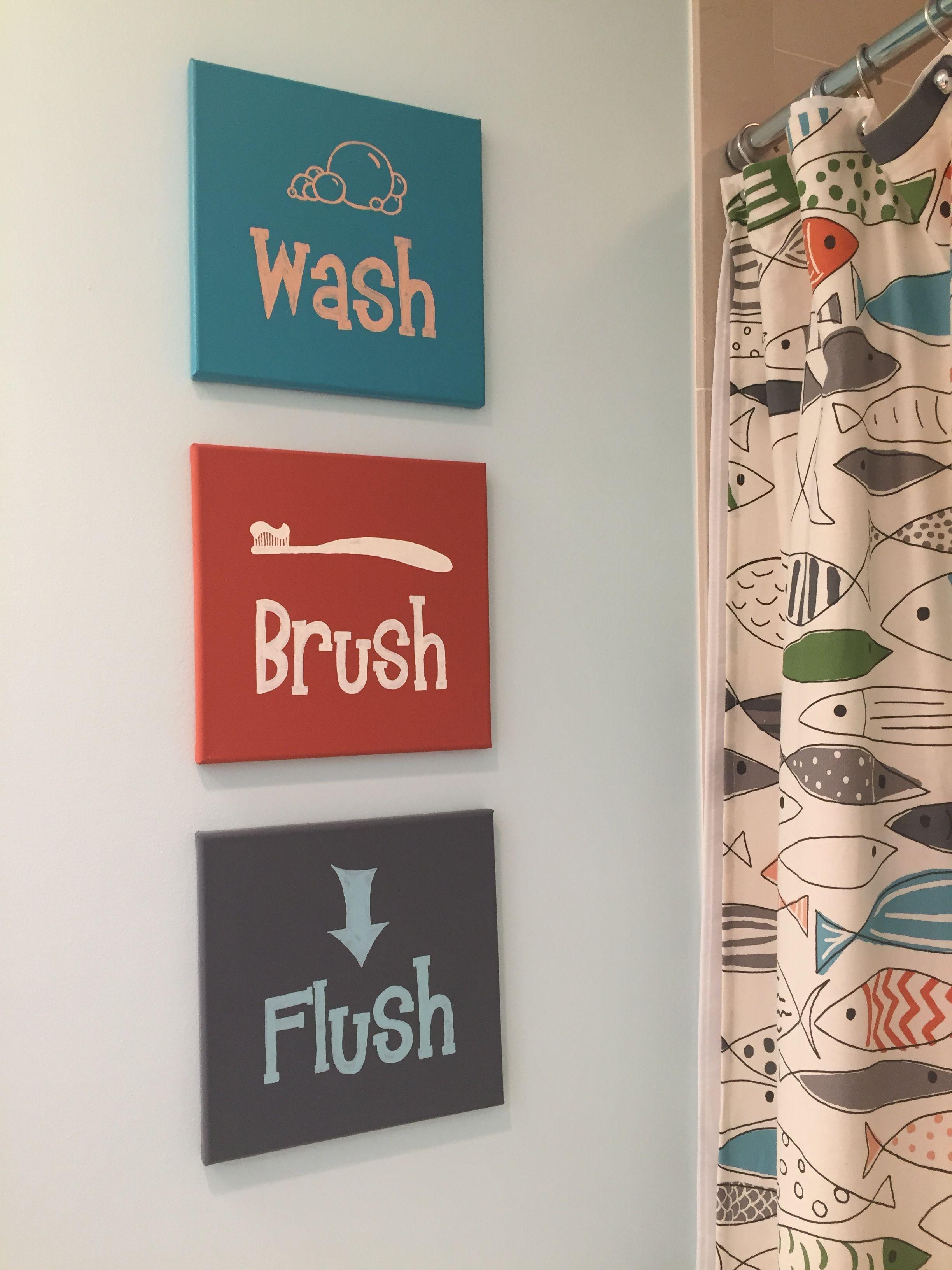 Kids Bathroom Artwork Wash Brush Flush 1 Paint Background Colors On Canvas 2 Use Pencil Rubbing Te Bathroom Canvas Art Bathroom Art Diy Diy Canvas Art