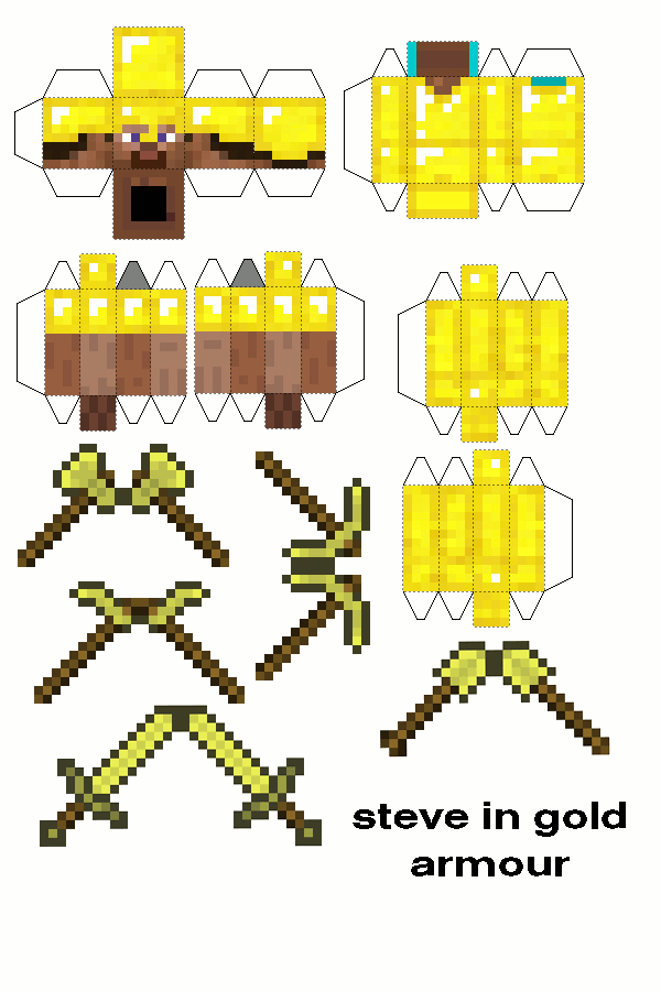 Papercraft Steve In Gold Armour With Tools Papercraft Minecraft Skin Minecraft Printables Minecraft Toys