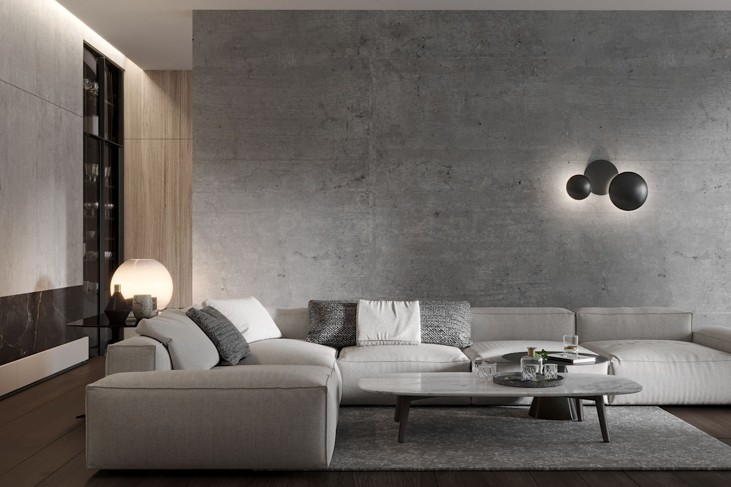 The Wall Of Concrete In Living Room Gives The Room An Industrial Chic Industrial Chic Living Room Concrete Living Room Concrete Walls Bedroom