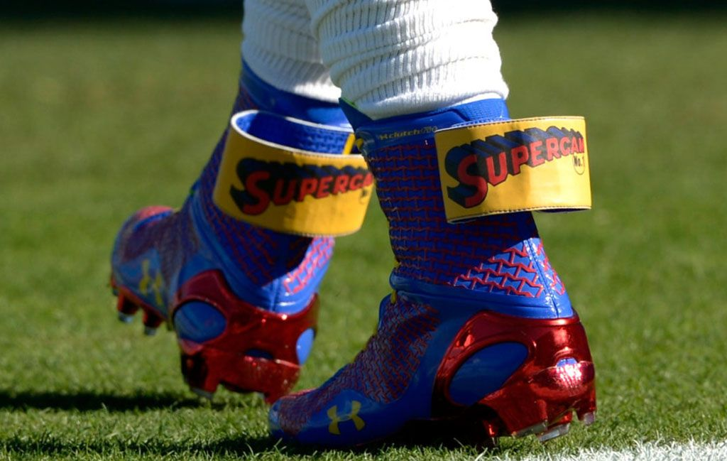 739a487ace5 Cam Newton Wears  Super Cam  Cleats Before 49ers-Panthers Playoff ...