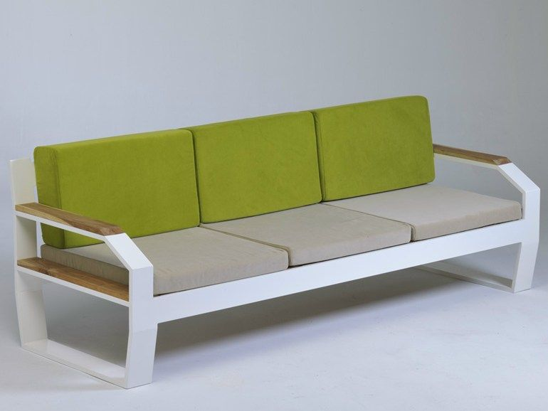 Upholstered Modular Stainless Steel And Wood Garden Sofa Fabris Lg