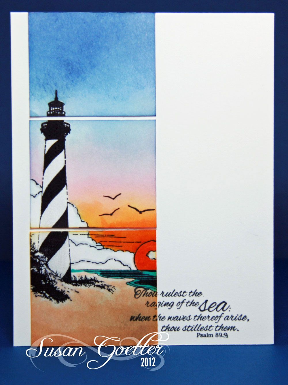 Lovely handmade card with a lighthouse scene gorgeous colors lovely handmade card with a lighthouse scene like the side panel with the scene cut up into three sections kristyandbryce Choice Image