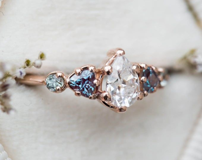 Peach sapphire pear ring, unique engagement ring, ethical engagement ring, peach ring, 14k gold ring, five stone ring, cluster ring, mermaid