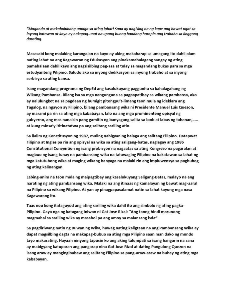 buwan ng wika essay writing tagalog