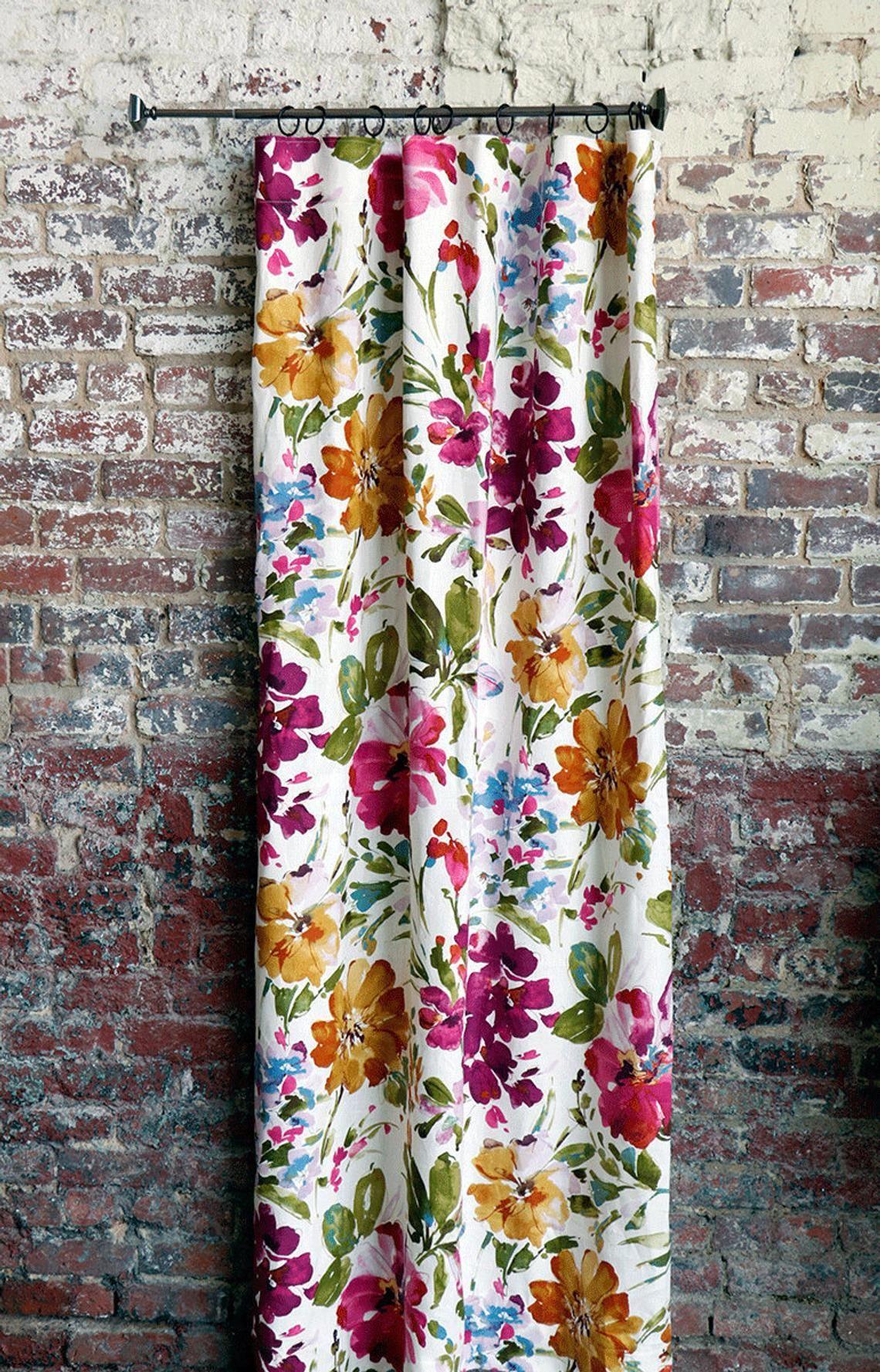 Fuschia Watercolor Bohemian Drapery Panel Floral Curtains