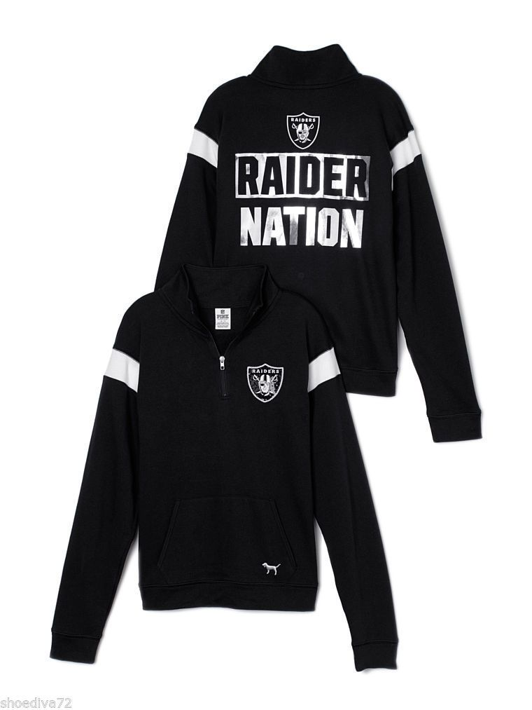 Victoria Secret Pink Oakland Raiders Bling Boyfriend Half Zip Sweatshirt S  M  in Clothing 7083aecdb