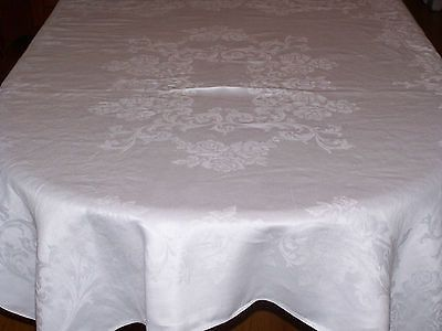 A+ Vintage Antique WHITE IRISH LINEN DRAWN THREAD WORK Tablecloth 33X34 A+