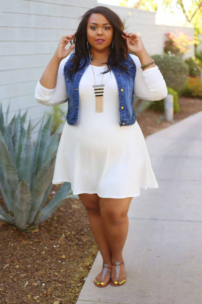 Perfect White Dress | Cute white dress, Curves and Denim vests