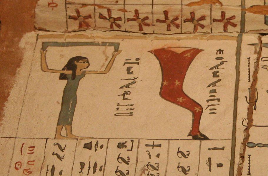 La déesse Nout et la constellation Mésekhy (Grande Ourse).(constellation de la patte du taureau, voir cuisse de jupiter) Cercueil du Moyen Empire, Roemer und Pelizaeus Museum de Hildesheim.
