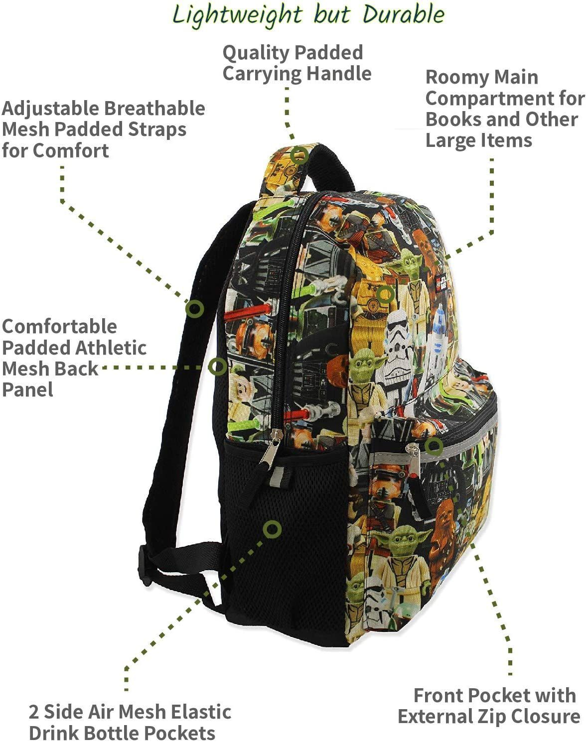 """Star Wars Kids Two-Compartment Backpack 16/"""" Darth Vader Stormtrooper C-3PO R2-D2"""