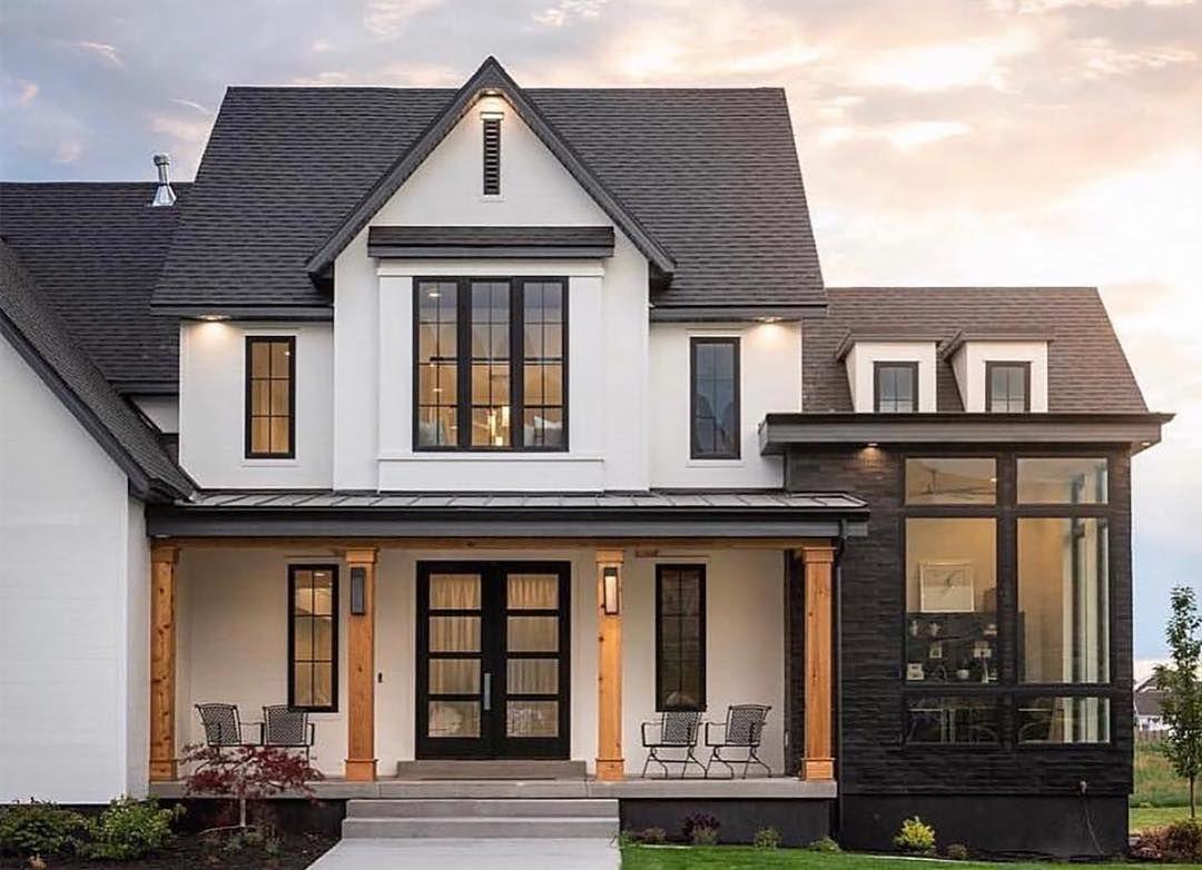 Farmhouse Home Exterior White Siding Black And White Exterior