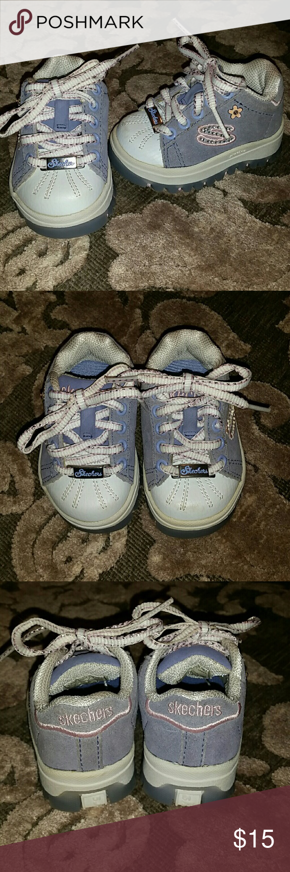 Baby Skecher Sneakers Powder blue with sweet pink details and metallic accents make these sneakers adorable for the most stylish baby girl. Barely worn, never walked in, these shoes are in mint condition. Skechers Shoes Sneakers