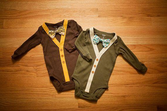 2 COMBO PACK  Preppy Baby Boy Cardigan Onesie by RockingHorseLane, $55.00 - Babies -