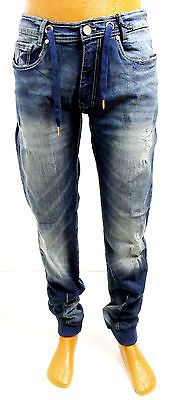 e9b3b2b788e754 Men s JORDAN CRAIG aged wash dark blue distressed slim fit joggers jeans  JJ204