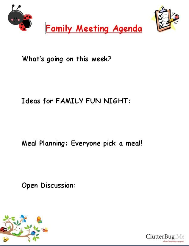 family meeting agenda template - Google Search Organization