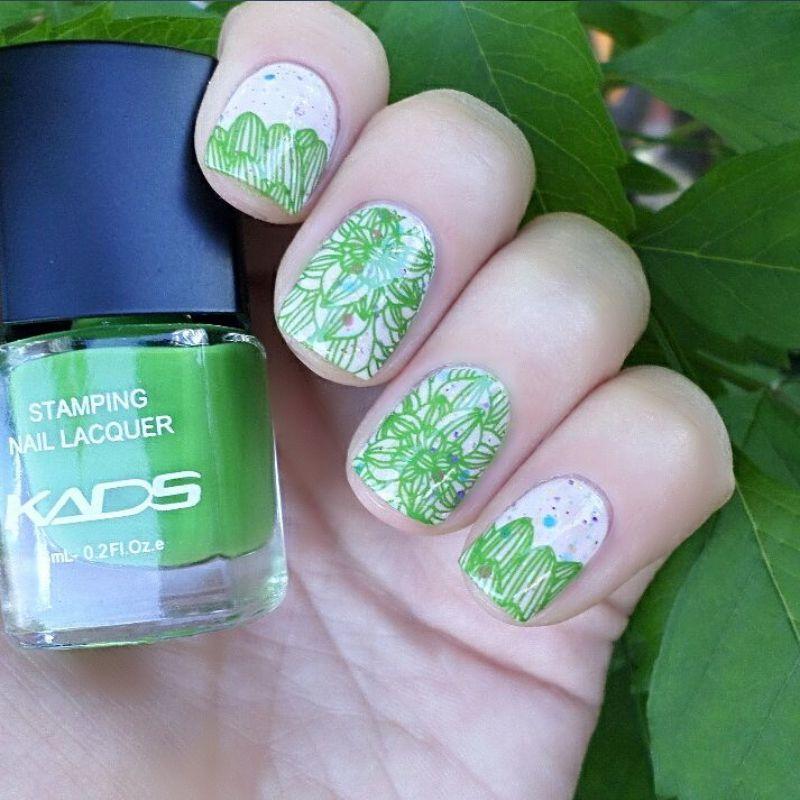 Hot Sale Magic Grass Green Nail Art Stamp Stamping Polish Nail ...
