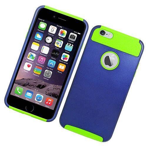 "Apple iPhone 6S/ 6 Plus 5.5 Hybrid Case Green TPU Blue Hard Cover"""