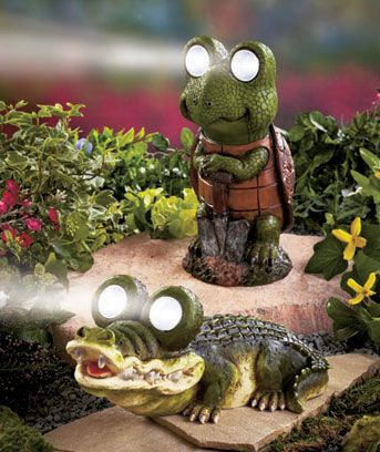 bight eye solar garden statues turtle or alligator yard decor sm352185 3gs6 alg - Solar Garden Decor