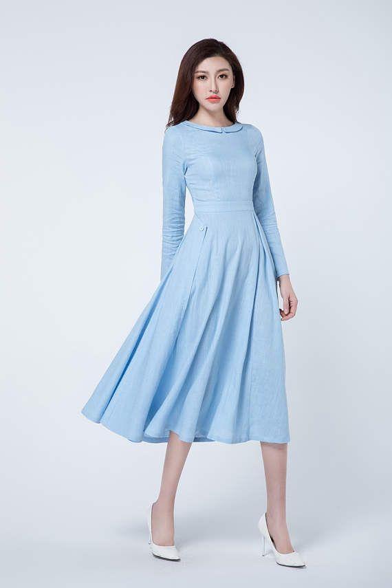 Light Blue Dress Spring Dress Pleated Dress Midi Dress