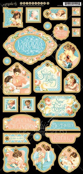 PRECIOUS MEMORIES Graphic 45 Chipboard Die Cuts 2