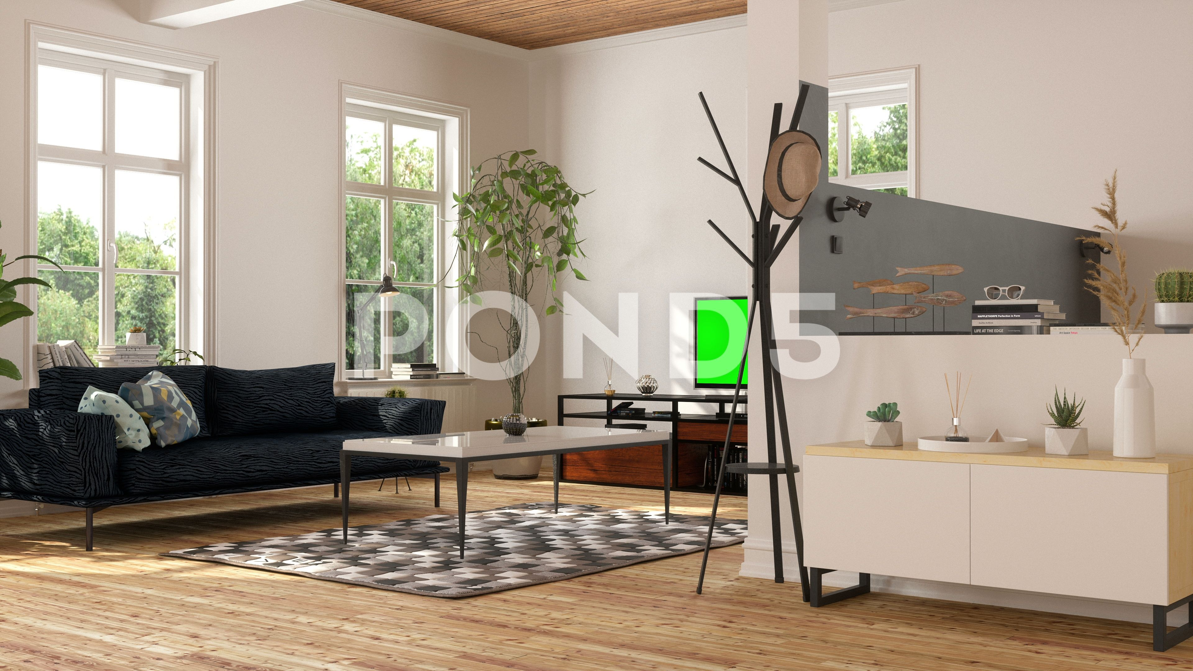 Modern Living Room With Television Set With Green Screen Stock Footage Ad Room Television Modern Living Modern Living Room Living Room Room