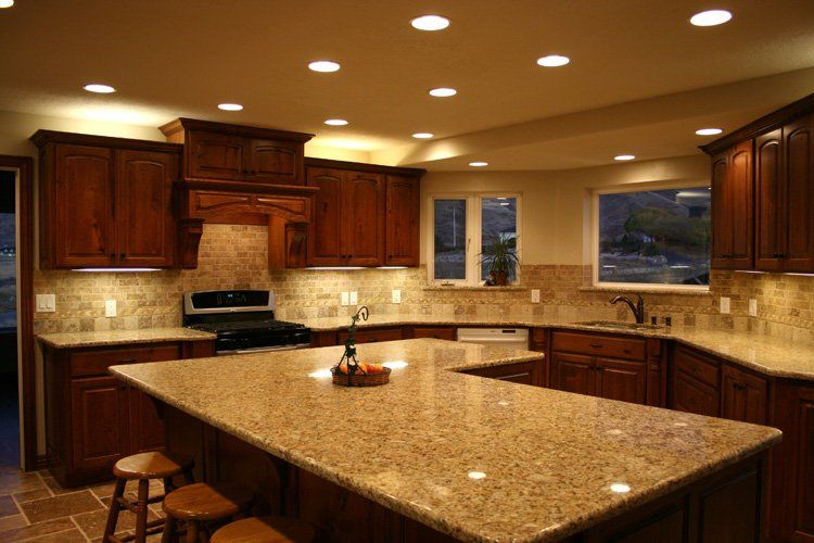 Cherry Cabinets With Santa Cecilia Granite Kitchen