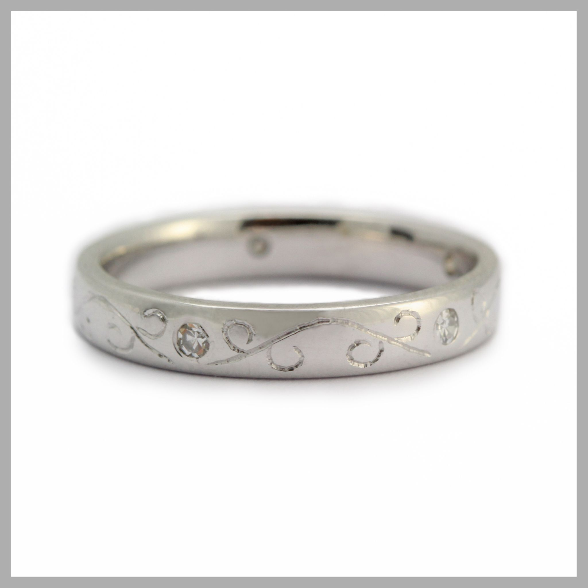 Diamond Ring Handmade Bespoke Gold Platinum Palladium Contemporary Wedding Engagement Scroll Engraving