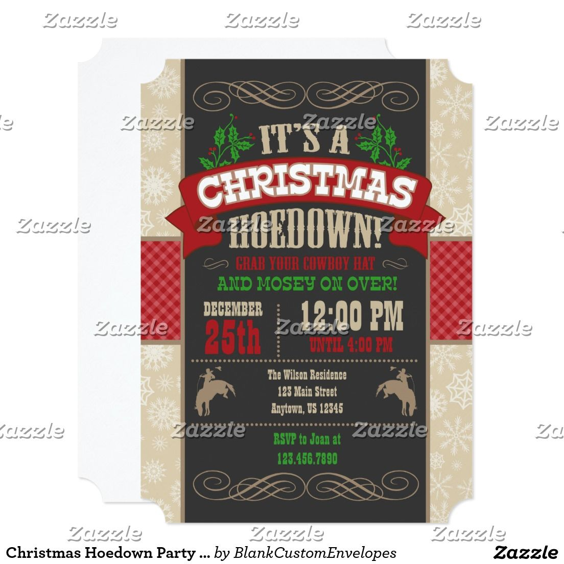 Christmas Hoedown Party Invitation | Christmas Party Invitations ...