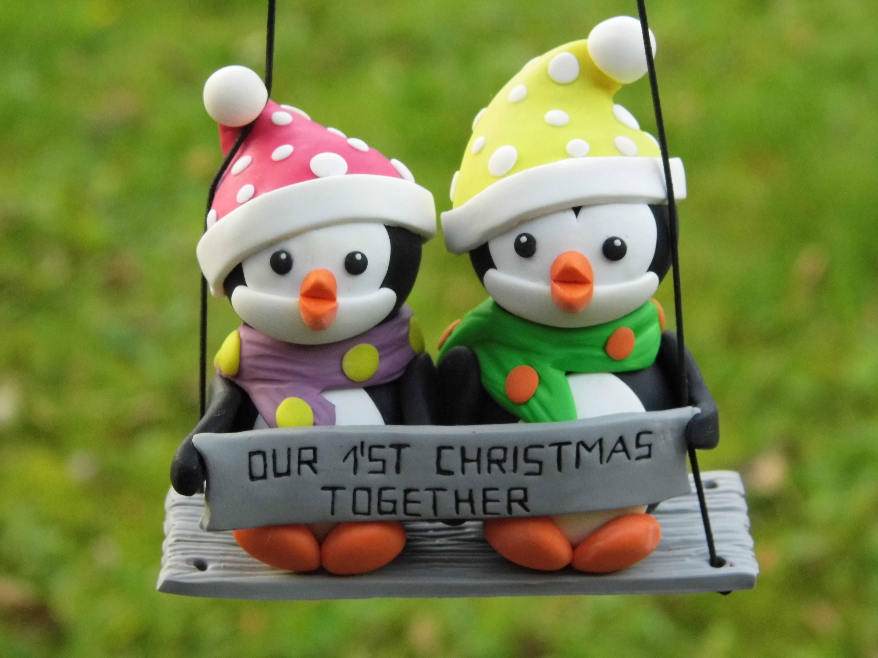 First Christmas together penguin ornament, Personalized Christmas ...