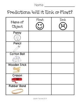 Sink Or Float Worksheet Preschool Science Elementary Science Kindergarten Science Kindergarten science experiment worksheet