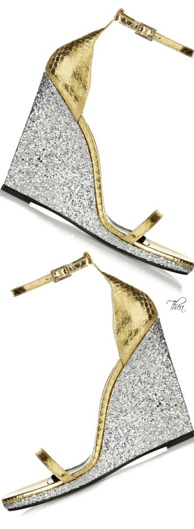 Saint Laurent   Gold elaphe 'Jane' sandals  |  @ shoes ( wedges 1 )