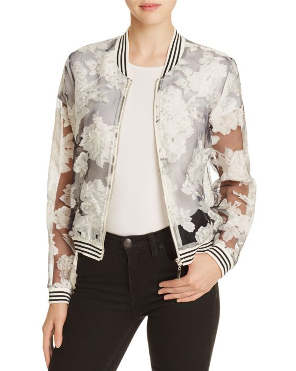 Lucy Paris Sheer Floral Bomber Jacket
