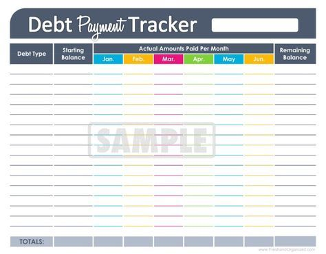 Debt Payment Tracker - EDITABLE - Personal Finance Organizing - Download Budget Spreadsheet