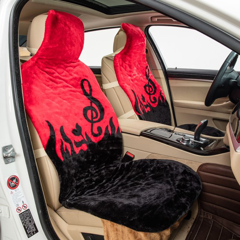 Music Note Pattern Red Plush Universal Car Seat Covers 2 Front Or Full 5 Cover