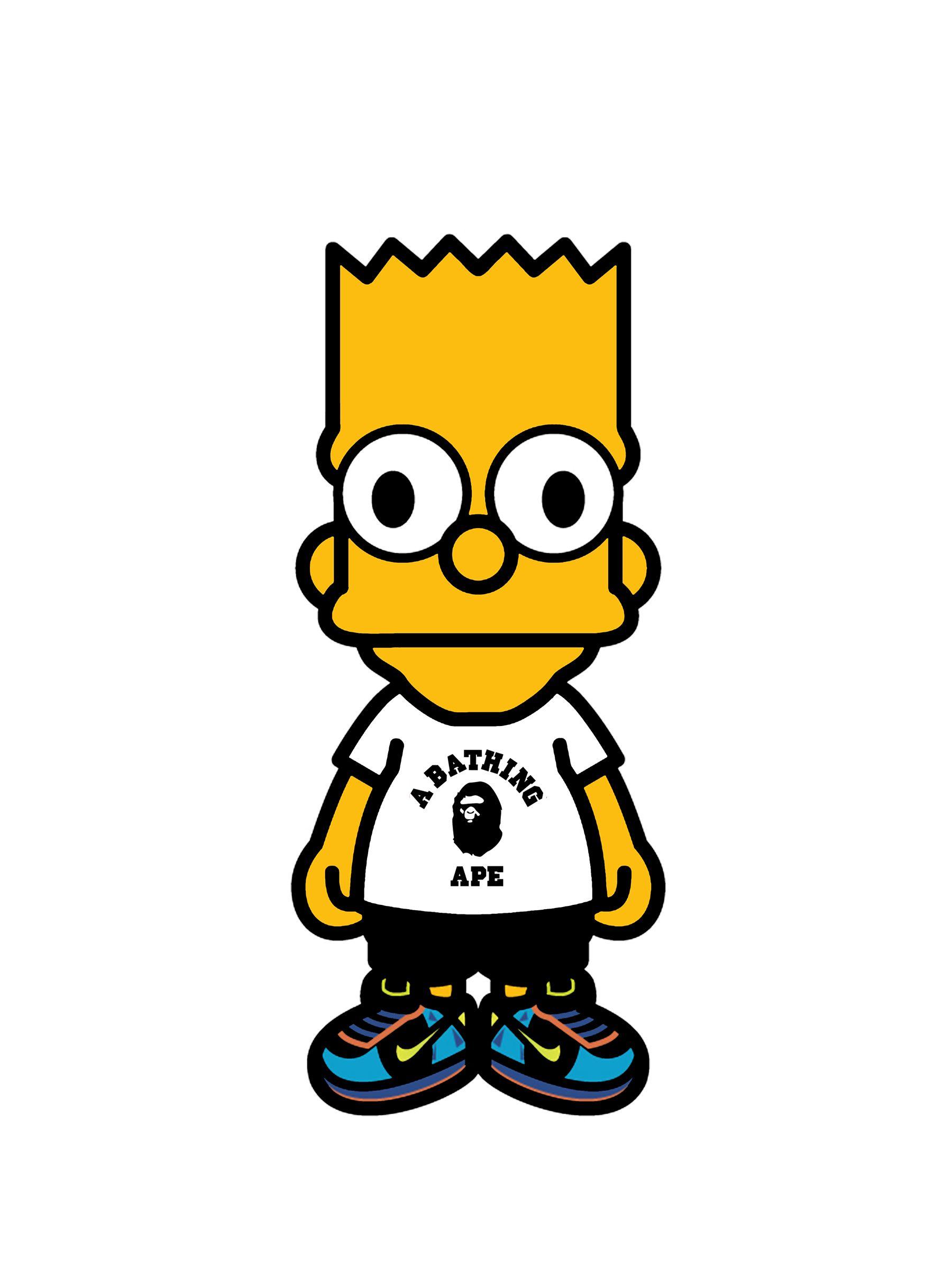 Bart Simpson Bape Poster Bart Simpson Minimalist Poster Bape Cartoon